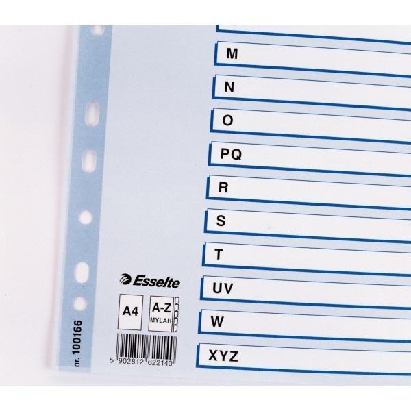 Przekładki kartonowe A4 białe A-Z Mylar ESSELTE
