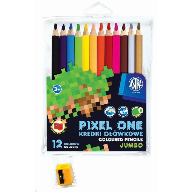 Kredki ołówkowe 12 kol.+ temp. Jumbo Pixel One