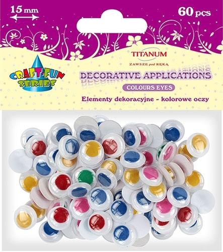 Oczy kreatywne dekoracyjne ruchome kolorowe 15mm 60szt