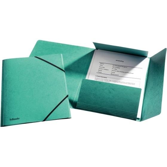 Teczka kartonowa z gumkami Esselte zielona