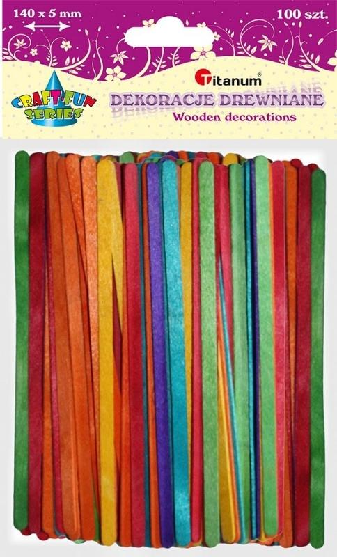 Patyczki drewniane mix kolor 140x5mm A`100