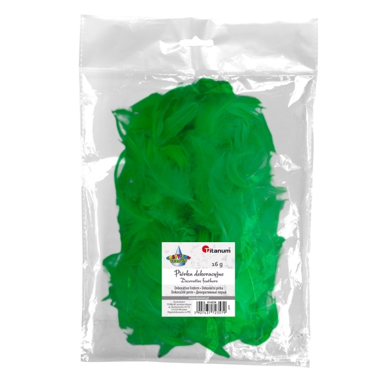 Piórka dekoracyjne 16g 5-12cm mix zielony
