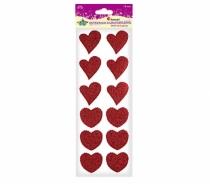 Kryształki samoprzylepne kreatywne serca czerwone 4x4,5cm 10szt
