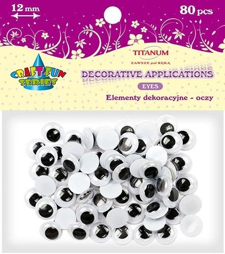 Oczy kreatywne dekoracyjne ruchome czarne 12mm 80szt.
