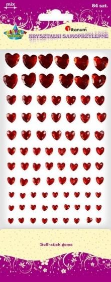Kryształki samoprzylepne serca czerwone A`84