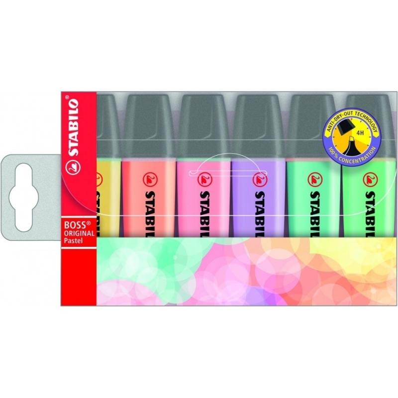 Zakreślacz fluorescencencyjny Stabilo Boss komplet 6szt w etui
