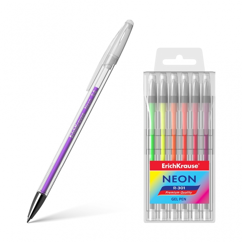 Długopis żelowy 6 kolorów neonowych R-301
