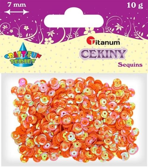 Cekiny kreatywne okrągłe ciemne pomarańczowe tęczowe 7mm 10g