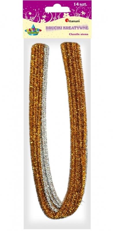 Druciki kreatywne 0,6x50cm A`14 srebrny/złoty