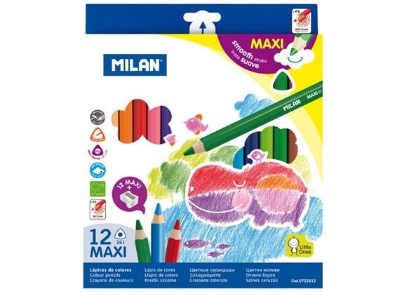 Kredki ołówkowe trójkątne Jumbo 12 kolorów MILAN