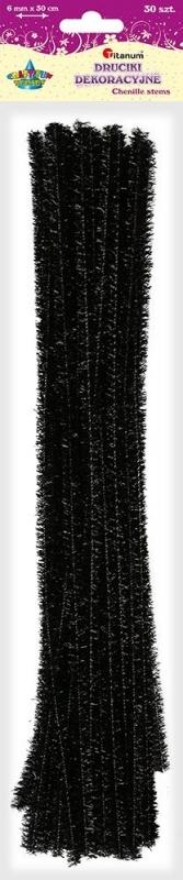 Druciki kreatywne metalizowane czarne 0,6x30cm A`30