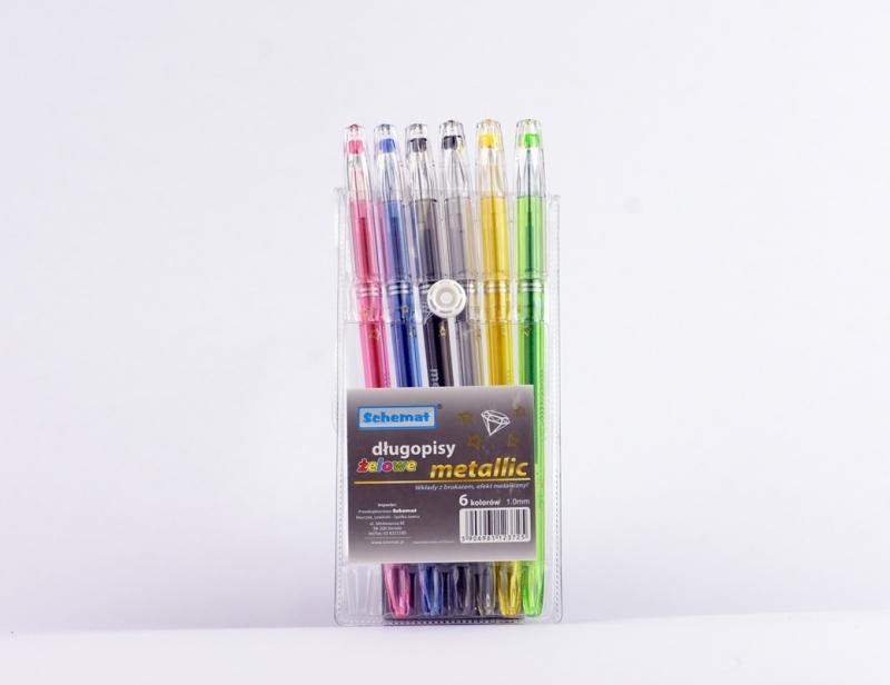 Długopisy żelowe metallic z diamentem 6 kolorów.