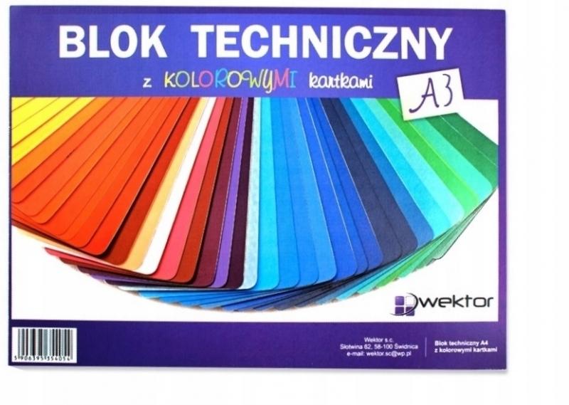 Blok techniczny A3 8 kartek kolorowy Wektor
