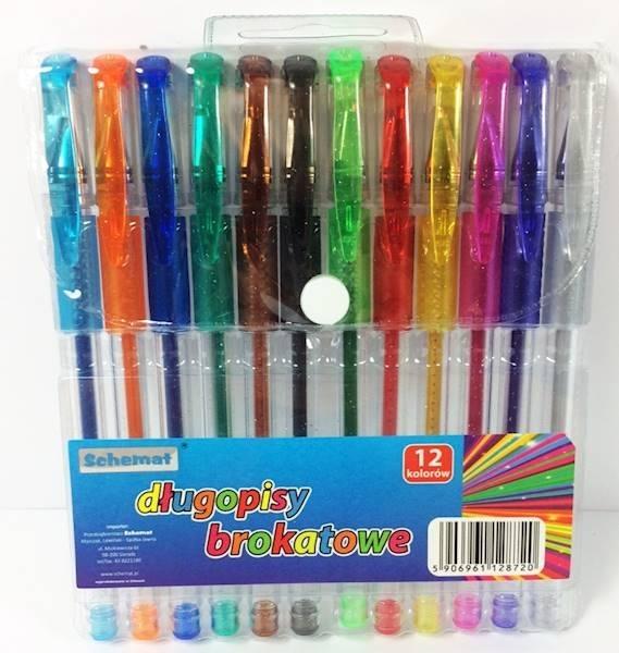 Długopisy brokatowe 12 kolorów Schemat