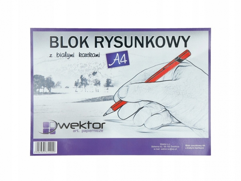 Blok rysunkowy A4 20 kartek biały Wektor