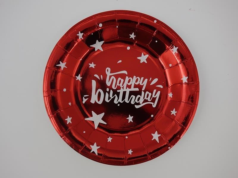 Talerz papierowy gwiazdki czerwony 17,5cml A`10