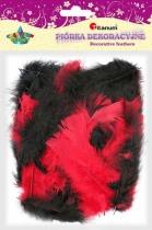Piórka dekoracyjne kreatywne czarny/czerwony 45-110mm 8g