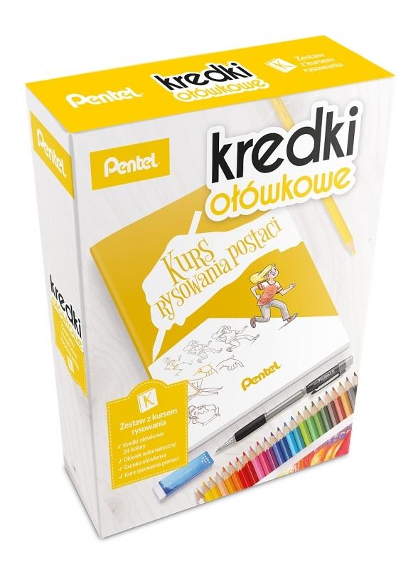Zestaw 24 kredek ołówkowych, ołówek, kurs Pentel