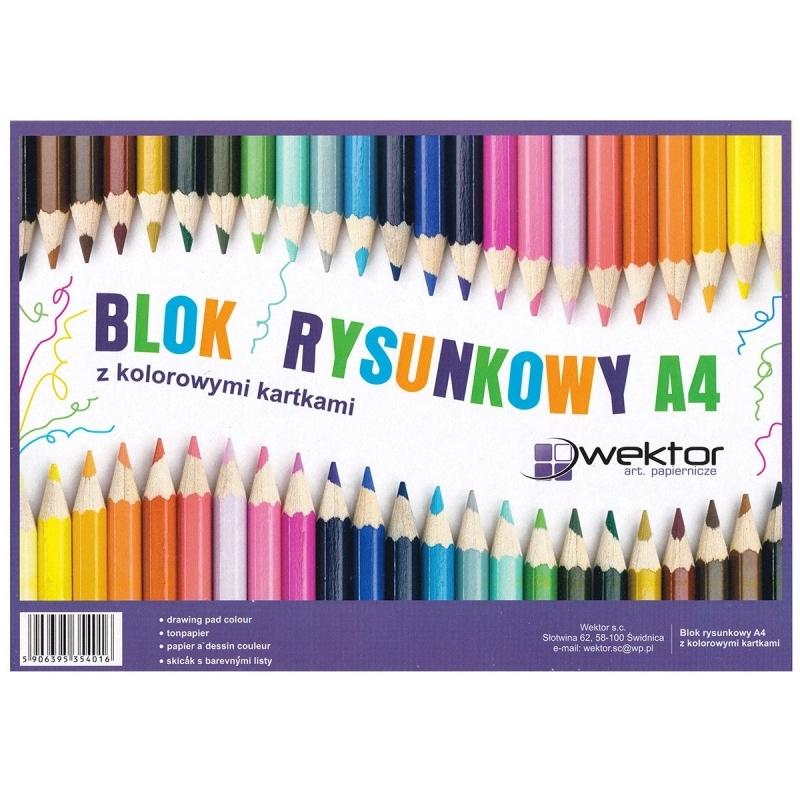 Blok rysunkowy A4 16 kartek kolor Wektor