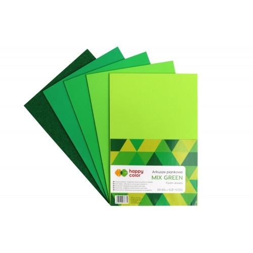 Arkusz piankowy Green A4 op.5ark.Happy Color