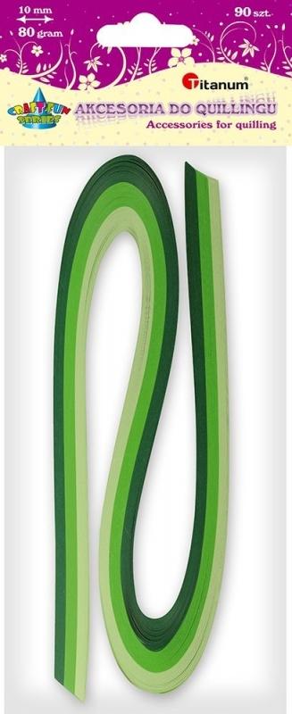 Paski do quillingu tonacja zielona 10mm 90szt