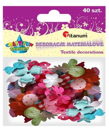 Dekoracje materiałowe kwiatki/listki 40szt