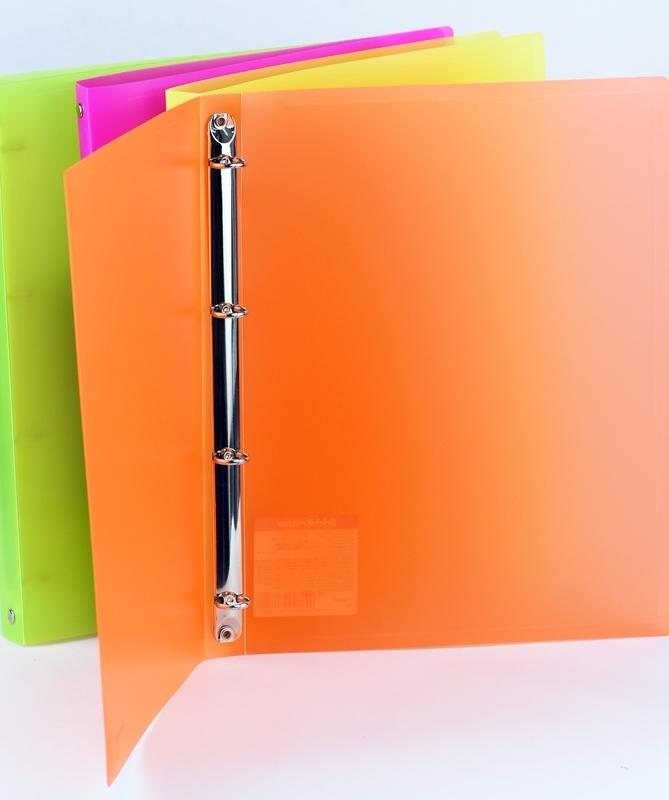 Segregator PP A4/24mm 4 ringi neon pomarańczowy
