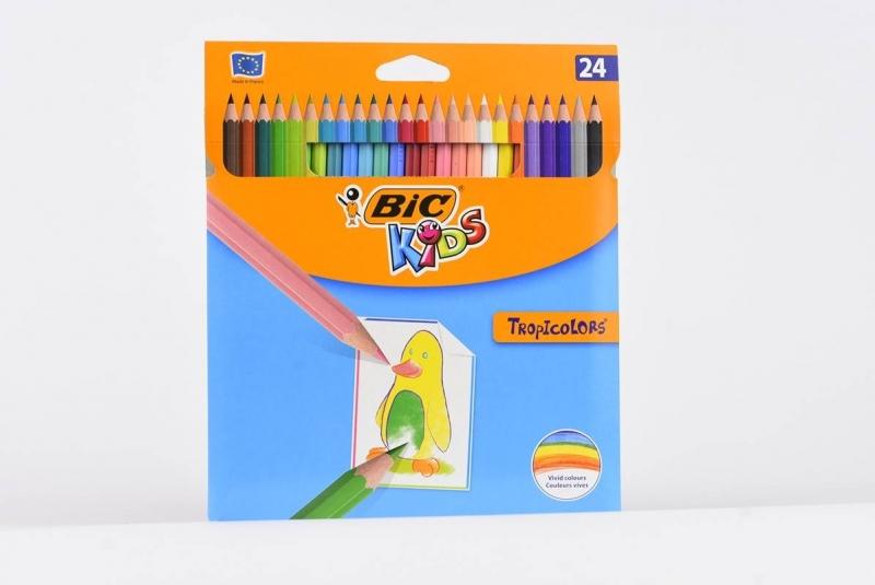 Kredki ołówkowe 24 kolory BIC Tropicolors