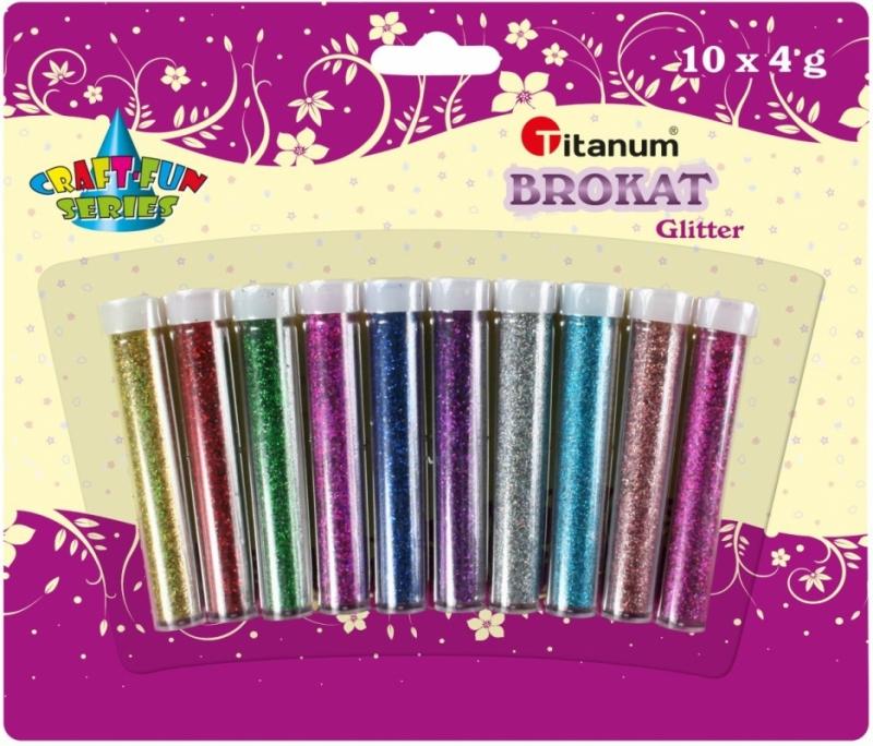 Brokat sypki w fiolkach 10 kolorów x 4g laser