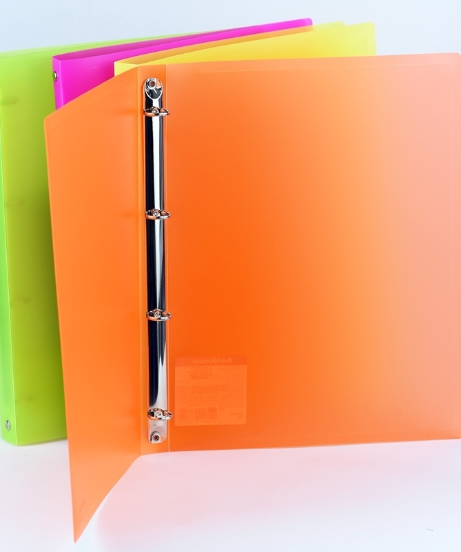 Segregator PP A4/24mm 4 ringi neon różowy
