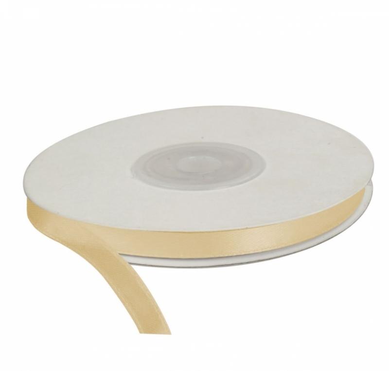 Wstążka satynowa dekoracyjna krem 6mm/25m