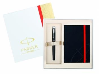 Parker zestaw pióro czarne+notebok IM PREMIUM